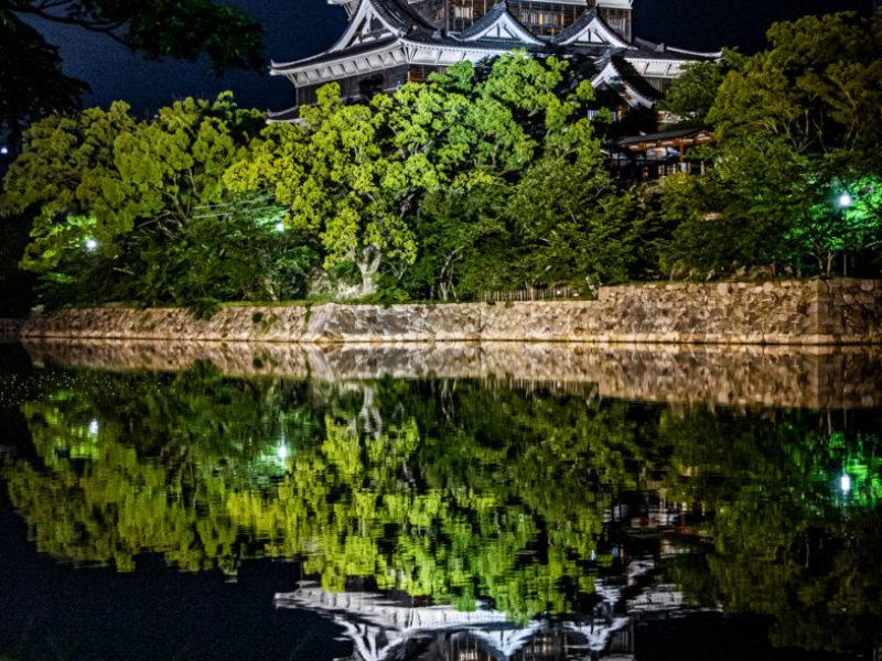 広島城の夜